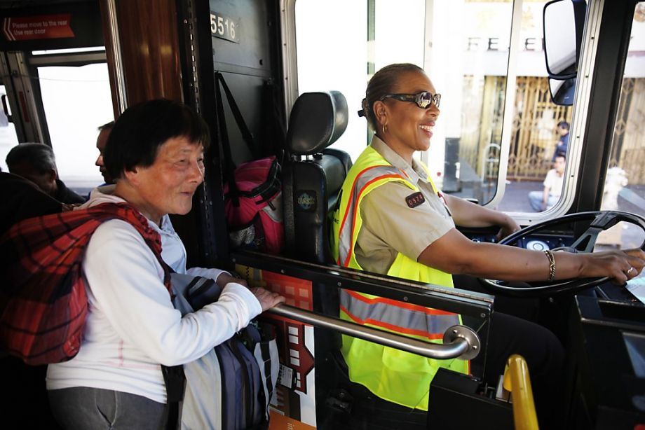 Transit operator Linda Wilson-Allen chats with a passenger while driving the 45-Union Muni bus in San Francisco. (Photo: Lea Suzuki, The Chronicle)