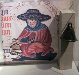 Medieval leper bell. Photo taken by Cnyborg at the museum Ribes Vikinger, Ribe, Denmark, May 2005