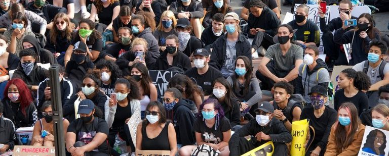 Protesters in masks